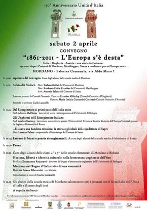manifestazione a Mordano (BO) per il  150° anniversario dell'Unità d'Italia